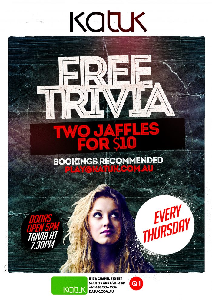 Free Trivia Thursday Nights at Katuk Chapel Street South Yarra